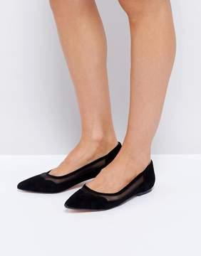 Dune London Suede Scallop Edge Flat Shoes
