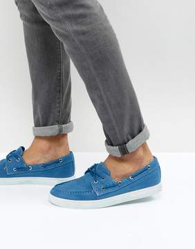 Armani Jeans Washed Canvas Boat Shoes in Blue