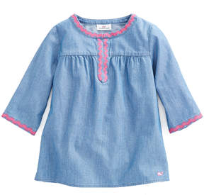Vineyard Vines Girls Chambray Embroidered Popover