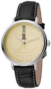 Just Cavalli Mens Black Leather Strap/spare Nylon Strap Watch With Cream Dial.