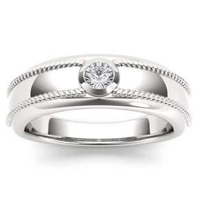 Imperial Star 1/5ct TW Diamond 14K White Gold Solitaire Men's Ring