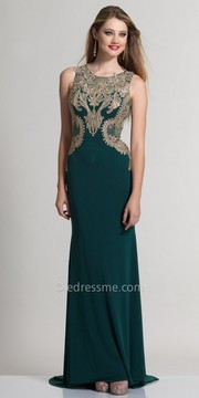 Dave and Johnny Regal Fitted Sheer Embroidered Evening Dress