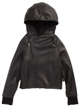 Nununu Toddler Boy's Hooded Leather Jacket