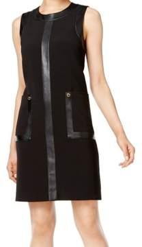 Calvin Klein Women's Faux-Leather-Trim Shift Dress