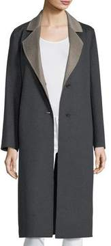 Neiman Marcus Luxury Double-Faced Long Notch-Collar Cashmere Coat