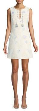Badgley Mischka Jacquard Sleeveless Mini Dress w/ Lace-Up Neck