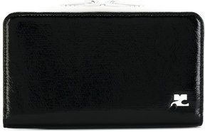 Courrèges logo plaque zip wallet