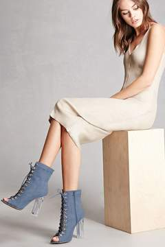 Forever 21 Faux Suede Lace-Up Ankle Boots