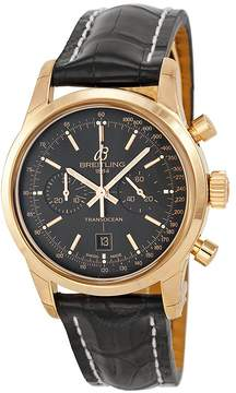 Breitling Transocean Chronograph 38 Black Dial 18kt Rose Gold Men's Watch