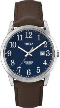 Timex Men's Easy Reader Blue Dial Watch, Brown Leather Strap