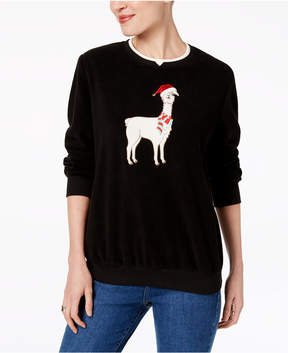 Alfred Dunner Embroidered Llama Holiday Sweater