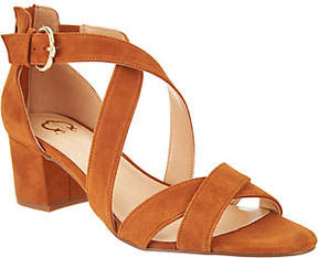 C. Wonder As Is Suede Cross Band Sandals with Block Heel