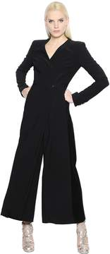 Antonio Berardi Wrapped Stretch Cady & Velvet Jumpsuit