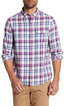 Michael Bastian Long Sleeve Plaid Trim Fit Shirt