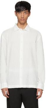 Issey Miyake White Shrink Stripe Shirt