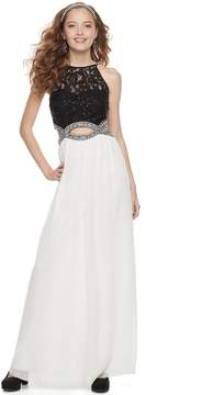 Speechless Juniors' Lace Cutout Waist Halter Maxi Prom Dress