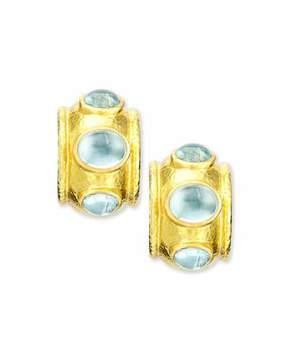 Elizabeth Locke 19k Gold Aquamarine Hoop Earrings