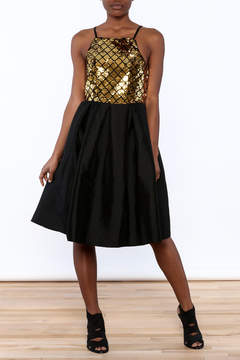 Ark & Co Gold Sequin Knee Dress