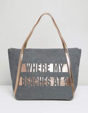 New Look Beach Slogan Shopper Bag