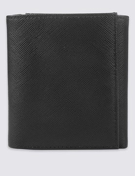 Marks and Spencer Leather Saffiano Tri Fold Coin Wallet with CardsafeTM