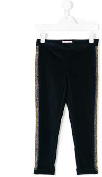 Miss Blumarine embellished stripe velvet trousers