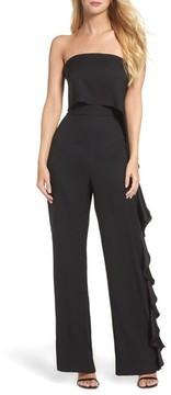 Eliza J Women's Ruffle Side Strapless Jumpsuit