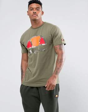 Ellesse T-Shirt With Large Camo Logo In Green