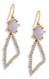 Alexis Bittar Elements Blue Lace Agate & Crystal Geometric Drop Earrings