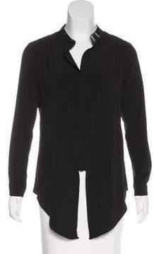 Barneys New York Barney's New York Vegan Leather-Trimmed Long Sleeve Top