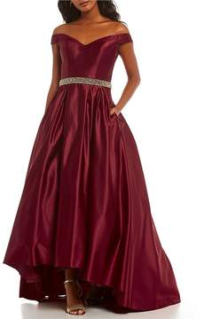 Betsy & Adam Off-the-Shoulder Beaded Waist Satin Gown