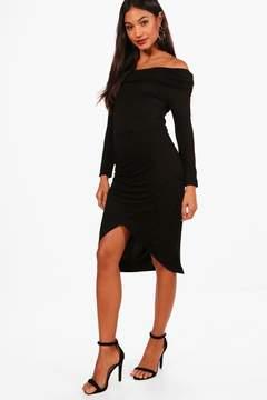 boohoo Eve Ruched Off The Shoulder Midi Dress