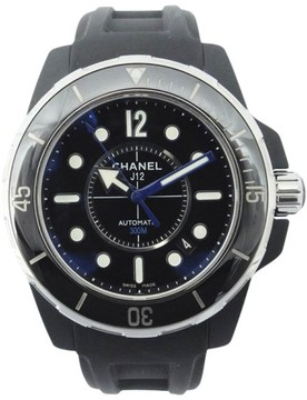 Chanel J12 Marine H2558 Ceramic & Rubber Black Dial Automatic 42mm Mens Watch