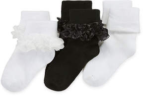 Asstd National Brand Jacques Mort 3-pk. Crochet-Trim Dress Socks - Girls