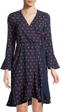 Neiman Marcus Polka-Dot Faux-Wrap Dress