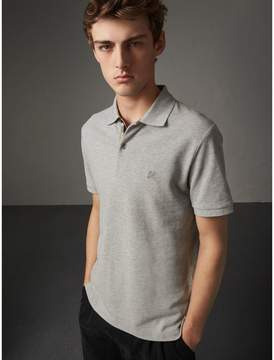 Burberry Check Placket Cotton Piqué Polo Shirt