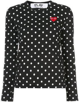 Comme des Garcons polka dot heart patch T-shirt