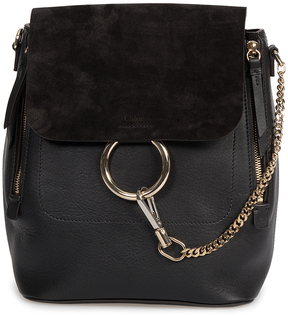 Black Faye Leather Convertible Backpack