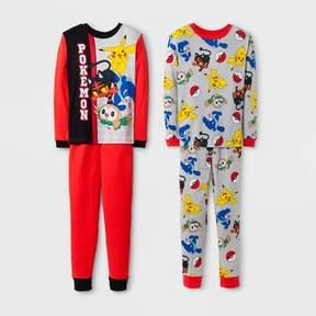 Pokemon Boys' 4 Piece Cotton Pajama Set - Red