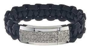 Armani Exchange Jewelry Mens Stainless Steel Id Leather Bracelet.