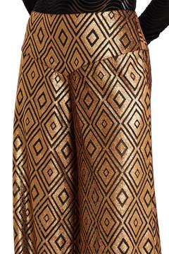 Anna Sui Foiled Diamond Print Wide Leg Pants