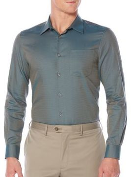 Perry Ellis Jacquard Cotton Casual Button-Down Shirt