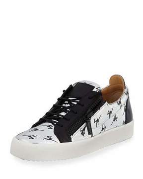 Giuseppe Zanotti Men's Logo Patent Leather Low-Top Sneakers, Silver/Black