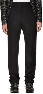 Sacai Navy Wool Ribbed Cuff Trousers
