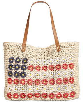 Style & Co Daisy Flag Straw Beach Bag, Created for Macy's