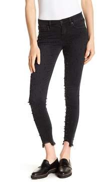 Blank NYC BLANKNYC Imitation Black Pearl Embellished Frayed Hem Skinny Jeans