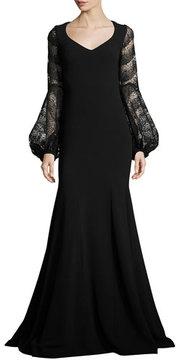 Theia Long-Sleeve Crepe Mermaid Gown, Black