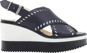 Jil Sander Navy Lui Perforated Leather-Blend Ankle Strap Wedge (Women's)