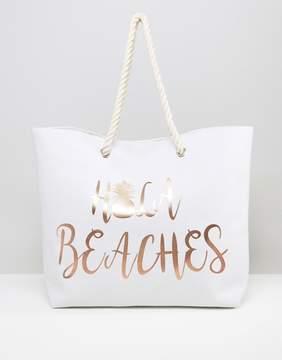 South Beach Hola Beaches Rose Gold Pineapple Print Beach Bag