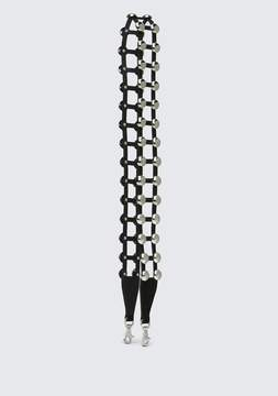 Alexander Wang ATTICA STUDDED CAGE STRAP IN BLACK SUEDE WITH RHODIUM BELTS & BAG STRAPS