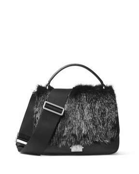 Michael Kors Mia Fur Shoulder Satchel Bag - BLACK - STYLE